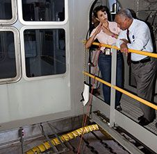 Mary Hanna of the Vehicle Integration<br /> and Launch Branch of Ground Systems<br /> Development and Operations Program,<br /> describes modifications being made to<br /> crawler-transporter-2 to NASA<br /> Administrator Charlie Bolden during<br /> his visit to the Kennedy Space Center<br /> last August. Hanna is the crawler-<br /> transporter project manager overseeing<br /> upgrades to the mammoth vehicle.<br /> Photo credit: NASA/Kim Shiflett&nbsp;&nbsp; <br /> <a href='http://www.nasa.gov/images/content/738556main_Bolden%20%26%20Hanna.jpg' class='bbc_url' title='External link' rel='nofollow external'>� View Larger Image</a>